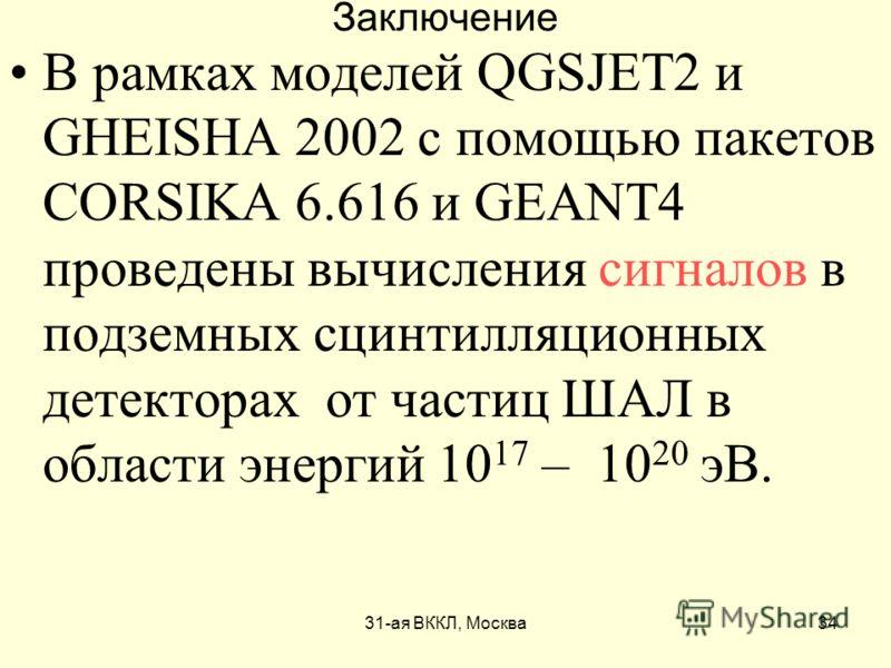 31-ая ВККЛ, Москва34 Заключение В рамках моделей QGSJET2 и GHEISHA 2002 с помощью пакетов CORSIKA 6.616 и GEANT4 проведены вычисления сигналов в подземных сцинтилляционных детекторах от частиц ШАЛ в области энергий 10 17 – 10 20 эВ.