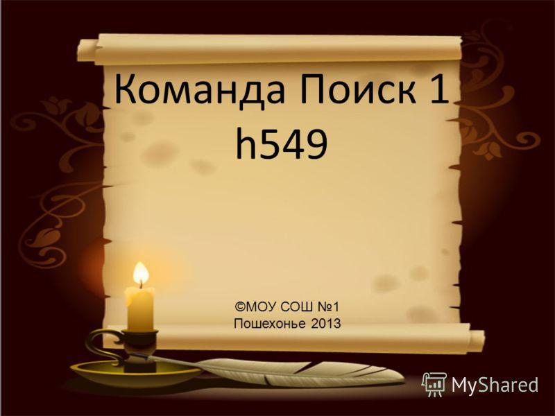 Команда Поиск 1 h549 ©МОУ СОШ 1 Пошехонье 2013