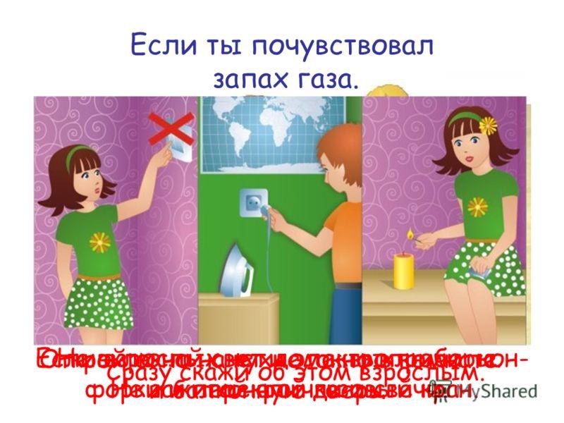 Если ты почувствовал запах газа. Сразу скажи об этом взрослым. Если взрослых нет дома, выключи кон- форки и перекрой газовый кран. Открой окно на кухне, окно в комнате и балконную дверь. Не включай свет и электроприборы. Не зажигай спички и свечи.