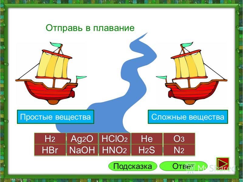 2 группа Отправь в плавание H2H2H2H2 H2H2H2H2 Ag 2 O HClO 2 HeHe O3O3O3O3 O3O3O3O3 H2SH2SH2SH2S H2SH2SH2SH2S N2N2N2N2 N2N2N2N2HBrHBrNaOHNaOH HNO 2 Ответ Сложные вещества Подсказка 1 группаПростые вещества