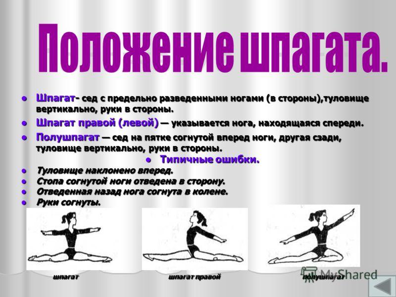 Шпагат- сед с предельно разведенными ногами (в стороны),туловище вертикально, руки в стороны. Шпагат- сед с предельно разведенными ногами (в стороны),туловище вертикально, руки в стороны. Шпагат правой (левой) указывается нога, находящаяся спереди. Ш