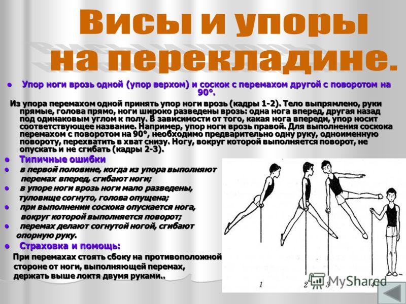 Упор ноги врозь одной (упор верхом) и соскок с перемахом другой с поворотом на 90°. Упор ноги врозь одной (упор верхом) и соскок с перемахом другой с поворотом на 90°. Из упора перемахом одной принять упор ноги врозь (кадры 1-2). Тело выпрямлено, рук