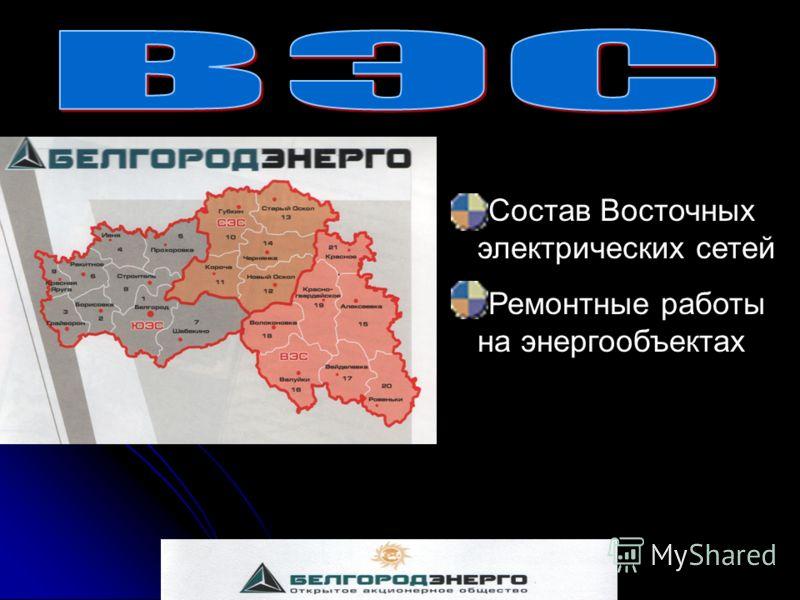 Состав Восточных электрических сетей Ремонтные работы на энергообъектах