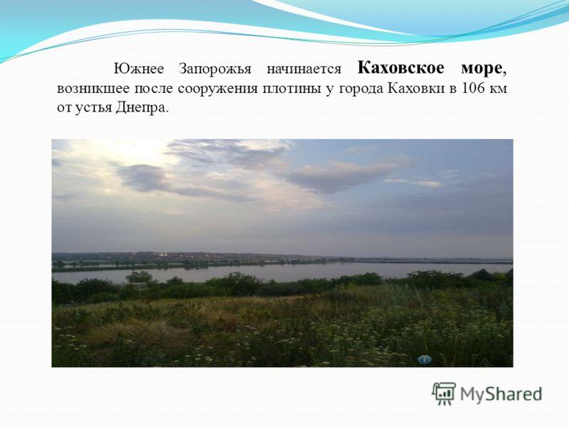 Южнее Запорожья начинается Каховское море, возникшее после сооружения плотины у города Каховки в 106 км от устья Днепра.