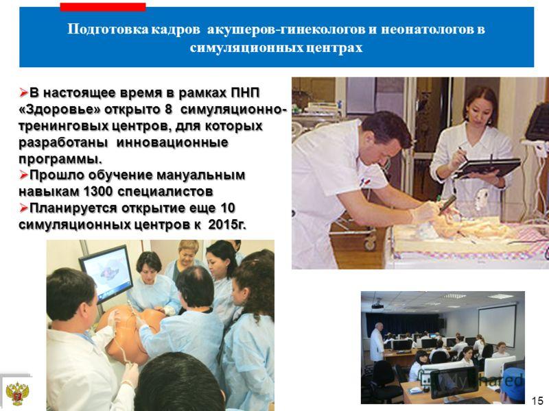 Подготовка кадров акушеров-гинекологов и неонатологов в симуляционных центрах 15 В настоящее время в рамках ПНП «Здоровье» открыто 8 симуляционно- тренинговых центров, для которых разработаны инновационные программы. В настоящее время в рамках ПНП «З