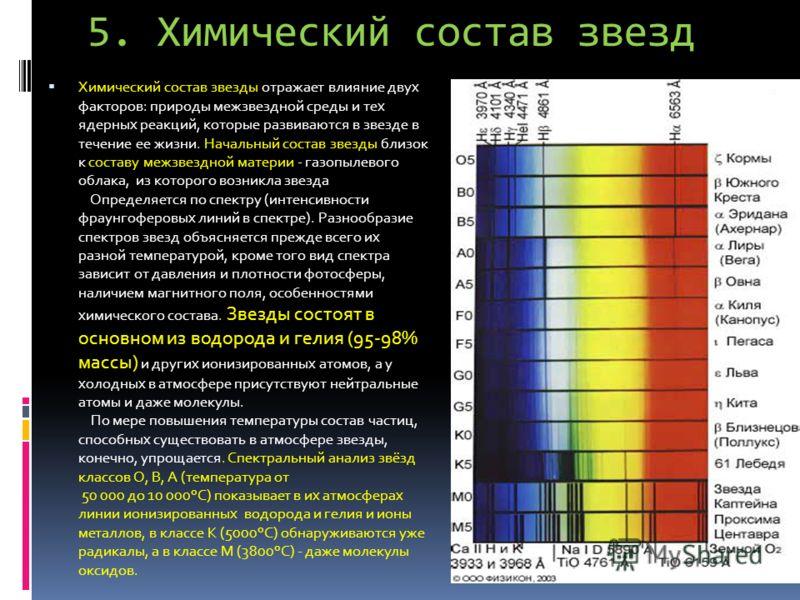 5. Химический состав звезд Химический состав звезды отражает влияние двух факторов: природы межзвездной среды и тех ядерных реакций, которые развиваются в звезде в течение ее жизни. Начальный состав звезды близок к составу межзвездной материи - газоп