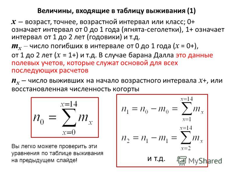 x – возраст, точнее, возрастной интервал или класс; 0+ означает интервал от 0 до 1 года (ягнята-сеголетки), 1+ означает интервал от 1 до 2 лет (годовики) и т.д. m x – число погибших в интервале от 0 до 1 года ( x = 0+), от 1 до 2 лет ( x = 1+) и т.д.
