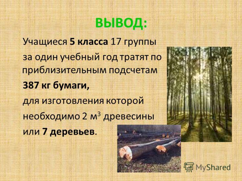 ВЫВОД: Учащиеся 5 класса 17 группы за один учебный год тратят по приблизительным подсчетам 387 кг бумаги, для изготовления которой необходимо 2 м 3 древесины или 7 деревьев.