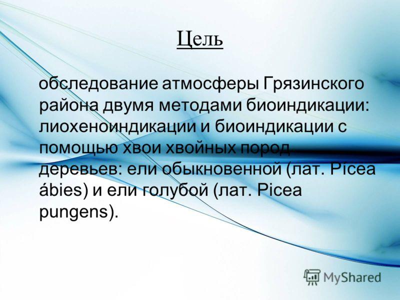 Цель обследование атмосферы Грязинского района двумя методами биоиндикации: лиохеноиндикации и биоиндикации с помощью хвои хвойных пород деревьев: ели обыкновенной (лат. Pícea ábies) и ели голубой (лат. Picea pungens).