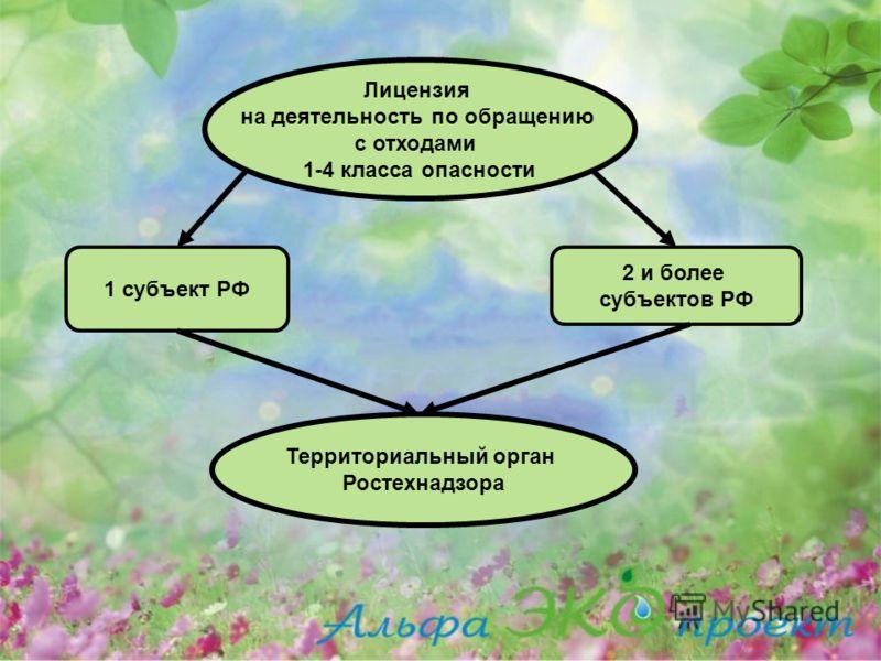 Лицензия на деятельность по обращению с отходами 1-4 класса опасности 1 субъект РФ 2 и более субъектов РФ Территориальный орган Ростехнадзора