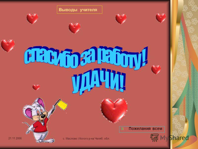 21.11.2006 с. Маслово Уйского р-на Челяб. обл.10 РЕФЛЕКСИЯ Подведи итоги 12