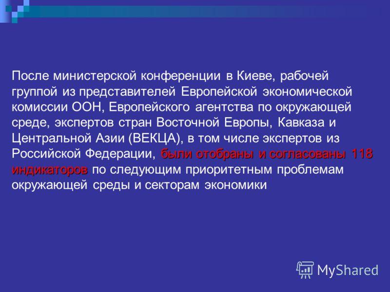 были отобраны и согласованы118 индикаторов После министерской конференции в Киеве, рабочей группой из представителей Европейской экономической комиссии ООН, Европейского агентства по окружающей среде, экспертов стран Восточной Европы, Кавказа и Центр