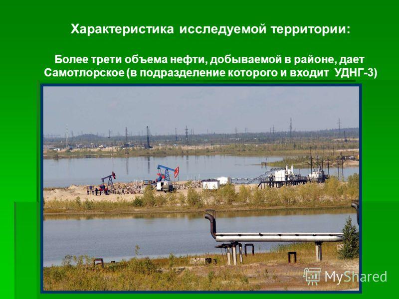Характеристика исследуемой территории: Более трети объема нефти, добываемой в районе, дает Самотлорское (в подразделение которого и входит УДНГ-3)