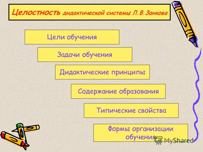 Целостность дидактической системы Л.В.Занкова Цели обучения Задачи обучения Дидактические принципы Содержание образования Типические свойства Формы организации обучения