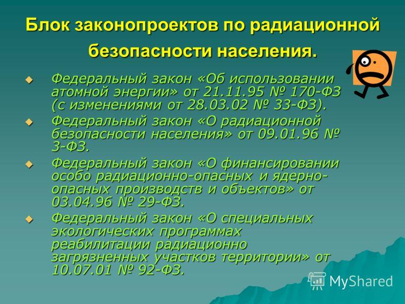 Блок законопроектов по радиационной безопасности населения. Федеральный закон «Об использовании атомной энергии» от 21.11.95 170-ФЗ (с изменениями от 28.03.02 33-ФЗ). Федеральный закон «Об использовании атомной энергии» от 21.11.95 170-ФЗ (с изменени