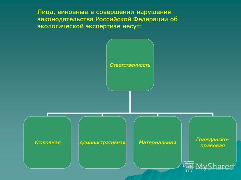 Ответственность УголовнаяАдминистративнаяМатериальная Гражданско- правовая Лица, виновные в совершении нарушения законодательства Российской Федерации об экологической экспертизе несут: