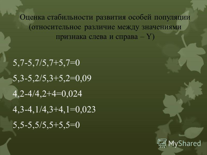 Оценка стабильности развития особей популяции (относительное различие между значениями признака слева и справа – Y) 5,7-5,7/5,7+5,7=0 5,3-5,2/5,3+5,2=0,09 4,2-4/4,2+4=0,024 4,3-4,1/4,3+4,1=0,023 5,5-5,5/5,5+5,5=0
