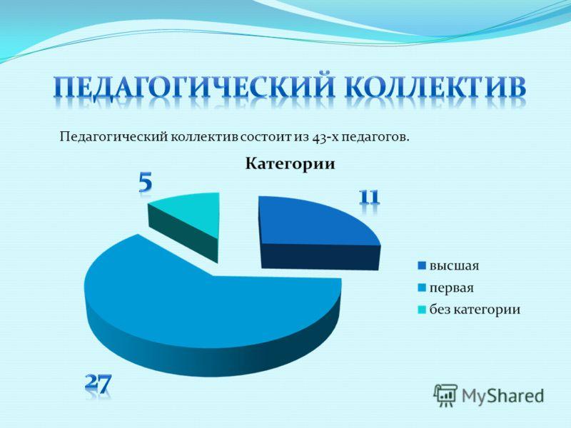 Педагогический коллектив состоит из 43-х педагогов.