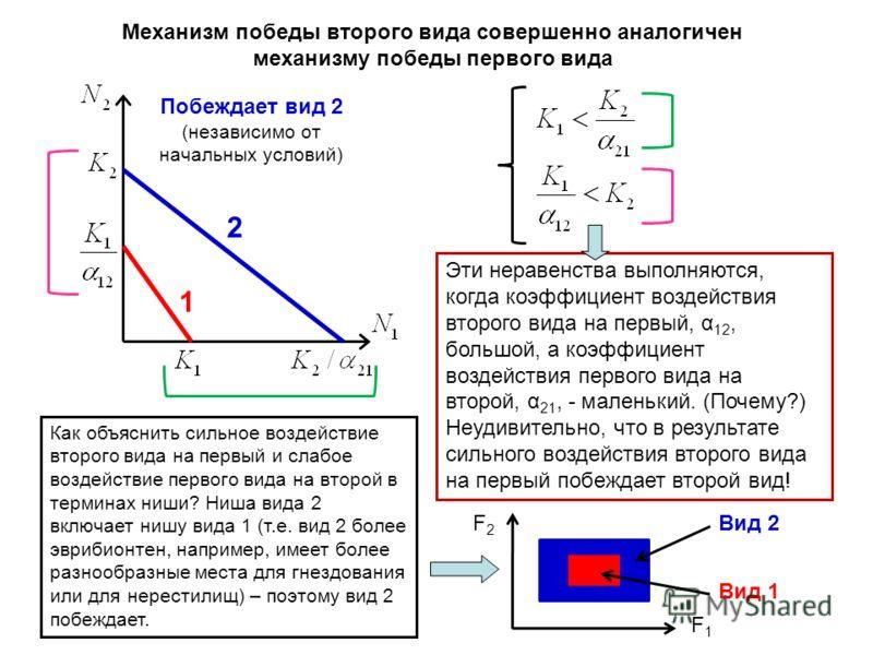 2 1 Побеждает вид 2 (независимо от начальных условий) Эти неравенства выполняются, когда коэффициент воздействия второго вида на первый, α 12, большой, а коэффициент воздействия первого вида на второй, α 21, - маленький. (Почему?) Неудивительно, что