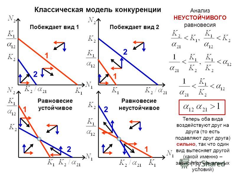 Классическая модель конкуренции 1 2 Побеждает вид 1 2 Побеждает вид 2 1 2 Равновесие устойчивое 1 2 Равновесие неустойчивое Анализ НЕУСТОЙЧИВОГО равновесия 1 Теперь оба вида воздействуют друг на друга (то есть подавляют друг друга) сильно, так что од