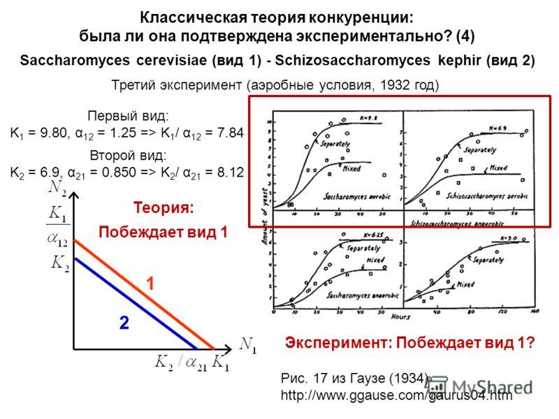 Классическая теория конкуренции: была ли она подтверждена экспериментально? (4) Saccharomyces cerevisiae (вид 1) - Schizosaccharomyces kephir (вид 2) Третий эксперимент (аэробные условия, 1932 год) Первый вид: K 1 = 9.80, α 12 = 1.25 => K 1 / α 12 =