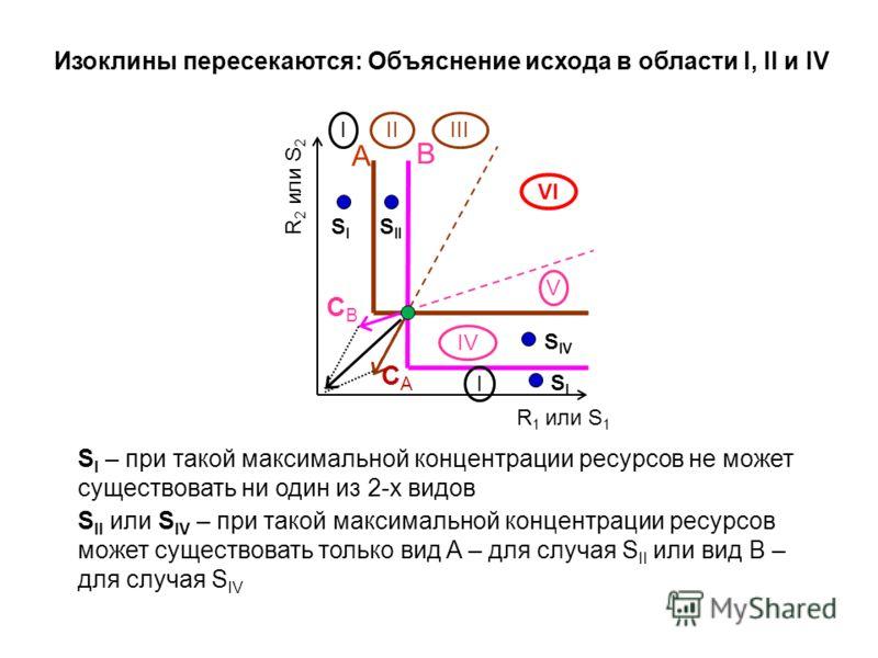 R 2 или S 2 A B CACA CBCB IIIII IV V I SISI I S II S I – при такой максимальной концентрации ресурсов не может существовать ни один из 2-х видов S II или S IV – при такой максимальной концентрации ресурсов может существовать только вид A – для случая