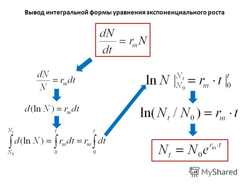 Вывод интегральной формы уравнения экспоненциального роста