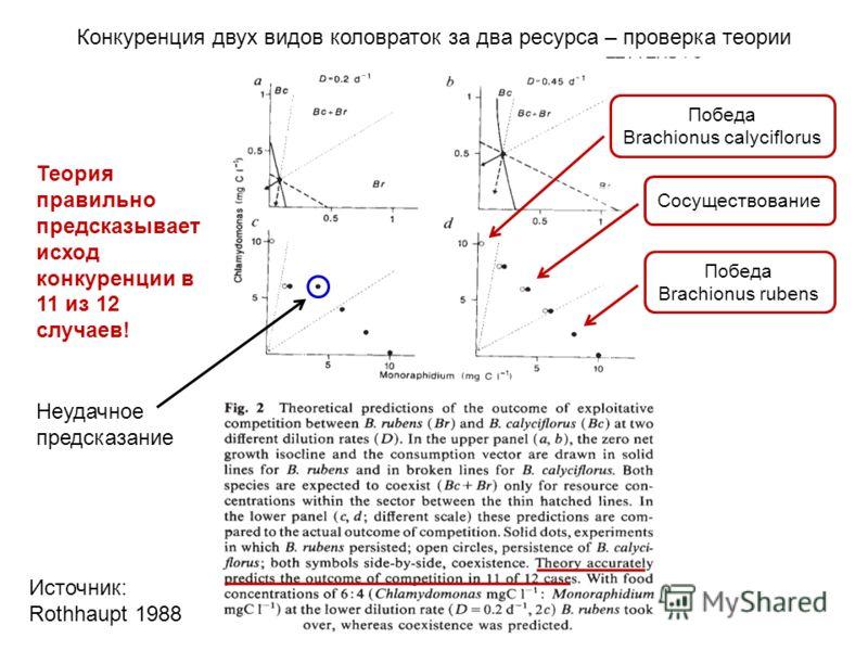 Источник: Rothhaupt 1988 Теория правильно предсказывает исход конкуренции в 11 из 12 случаев! Сосуществование Победа Brachionus rubens Победа Brachionus calyciflorus Неудачное предсказание Конкуренция двух видов коловраток за два ресурса – проверка т
