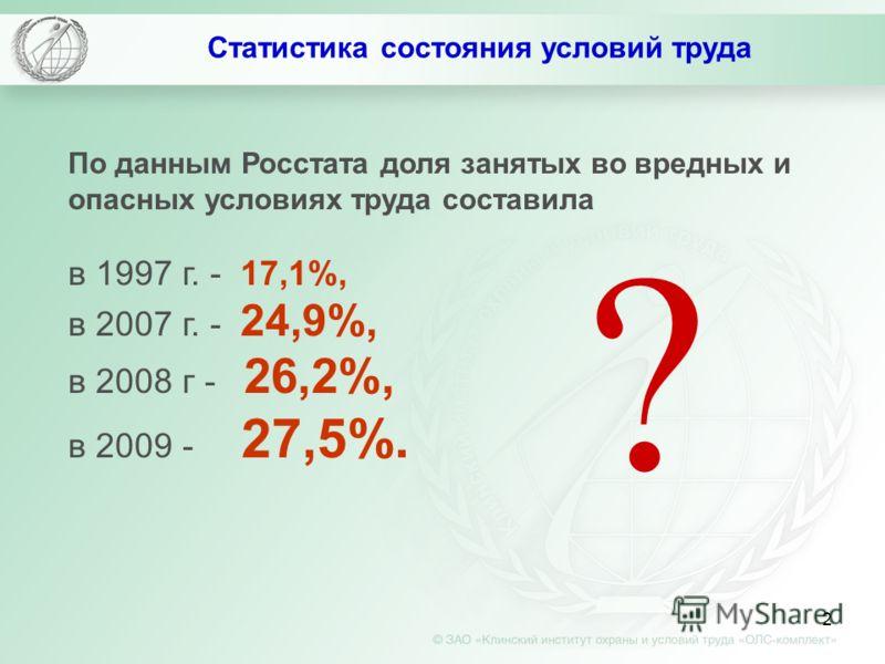 2 Статистика состояния условий труда По данным Росстата доля занятых во вредных и опасных условиях труда составила в 1997 г. - 17,1%, в 2007 г. - 24,9%, в 2008 г - 26,2%, в 2009 - 27,5%. ?