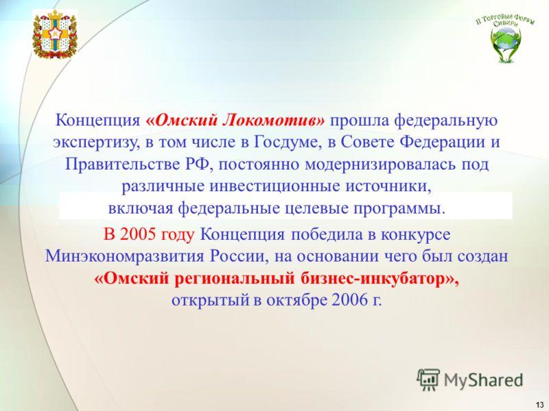 13 Концепция «Омский Локомотив» прошла федеральную экспертизу, в том числе в Госдуме, в Совете Федерации и Правительстве РФ, постоянно модернизировалась под различные инвестиционные источники, включая федеральные целевые программы. В 2005 году Концеп