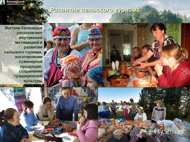 Развитие сельского туризма Жители Кенозерья располагаютвнутренней мотивацией в развитии сельского туризма, изготовлении сувенирной продукции, сохранении традиционной культуры