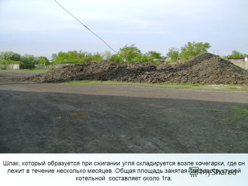 Шлак, который образуется при сжигании угля складируется возле кочегарки, где он лежит в течение несколько месяцев. Общая площадь занятая инфраструктурой котельной составляет около 1га.