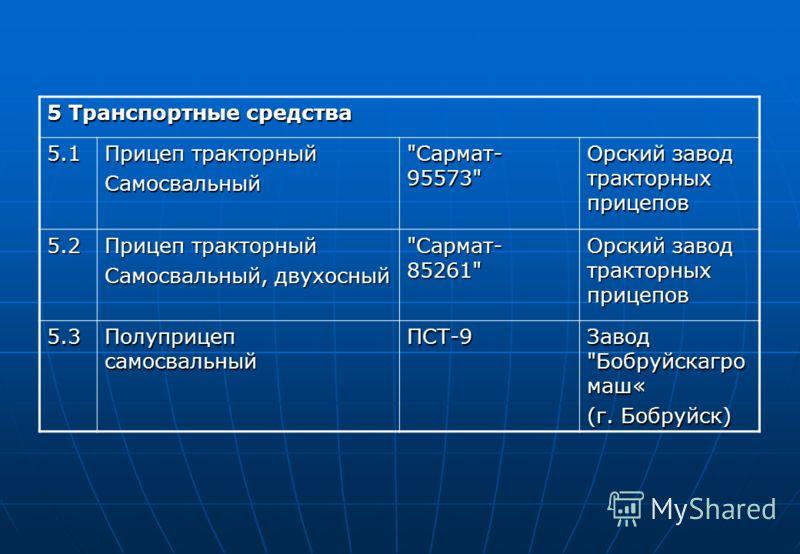 5 Транспортные средства 5.1 Прицеп тракторный Самосвальный
