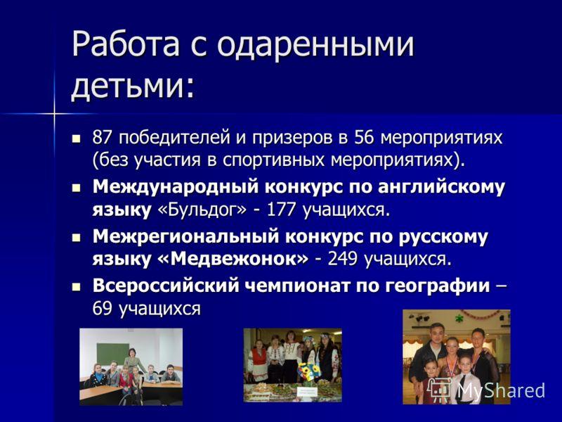 Работа с одаренными детьми: 87 победителей и призеров в 56 мероприятиях (без участия в спортивных мероприятиях). 87 победителей и призеров в 56 мероприятиях (без участия в спортивных мероприятиях). Международный конкурс по английскому языку «Бульдог»