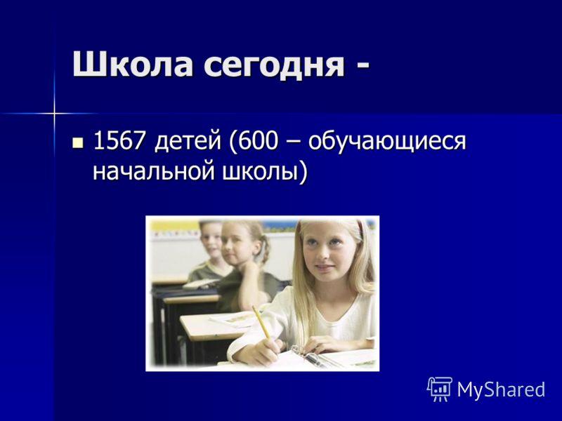 Школа сегодня - 1567 детей (600 – обучающиеся начальной школы) 1567 детей (600 – обучающиеся начальной школы)