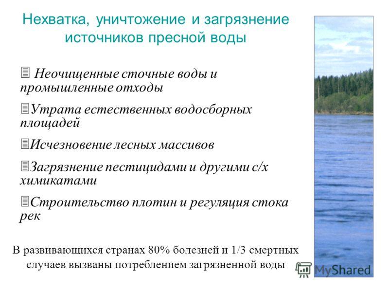 Нехватка, уничтожение и загрязнение источников пресной воды 3 Неочищенные сточные воды и промышленные отходы 3 Утрата естественных водосборных площадей 3 Исчезновение лесных массивов 3 Загрязнение пестицидами и другими с/х химикатами 3 Строительство