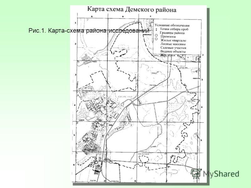 Рис.1. Карта-схема района исследований
