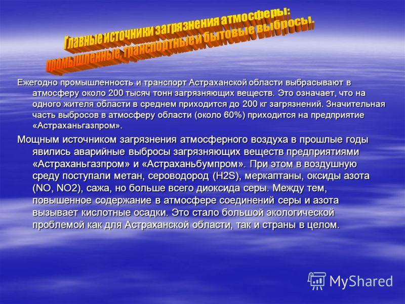 Ежегодно промышленность и транспорт Астраханской области выбрасывают в атмосферу около 200 тысяч тонн загрязняющих веществ. Это означает, что на одного жителя области в среднем приходится до 200 кг загрязнений. Значительная часть выбросов в атмосферу