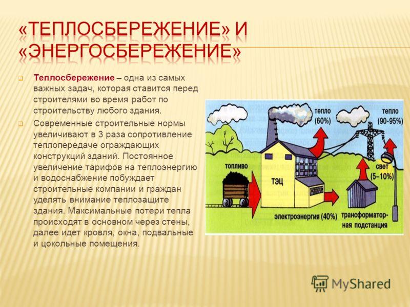 Теплосбережение – одна из самых важных задач, которая ставится перед строителями во время работ по строительству любого здания. Современные строительные нормы увеличивают в 3 раза сопротивление теплопередаче ограждающих конструкций зданий. Постоянное