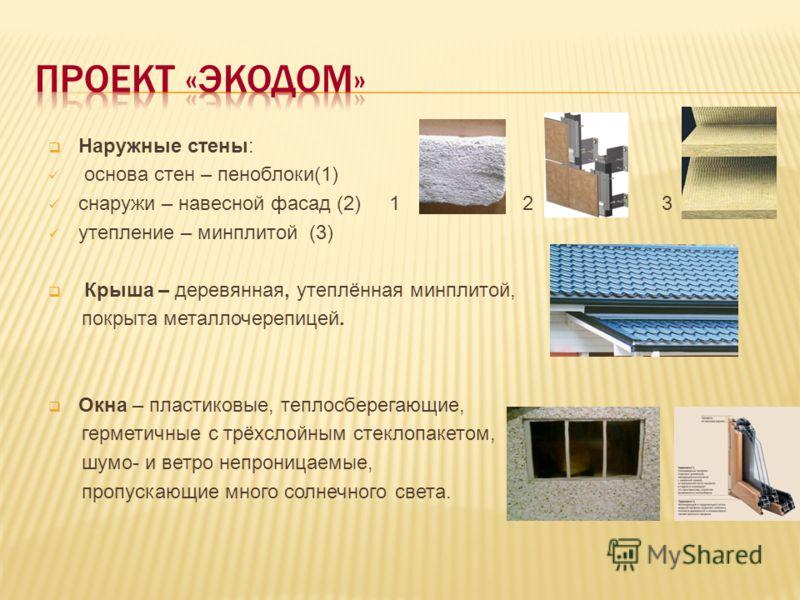 Наружные стены: основа стен – пеноблоки(1) снаружи – навесной фасад (2) 1 2 3 утепление – минплитой (3) Крыша – деревянная, утеплённая минплитой, покрыта металлочерепицей. Окна – пластиковые, теплосберегающие, герметичные с трёхслойным стеклопакетом,