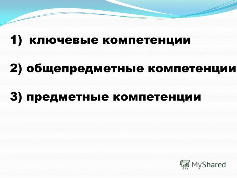 1)ключевые компетенции 2) общепредметные компетенции 3) предметные компетенции