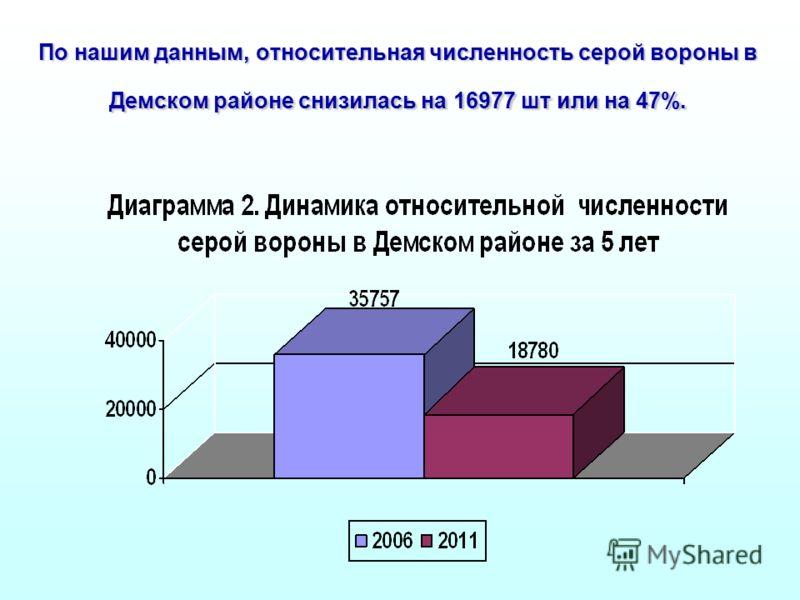 По нашим данным, относительная численность серой вороны в Демском районе снизилась на 16977 шт или на 47%.