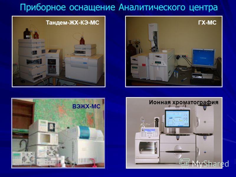 Приборное оснащение Аналитического центра Тандем-ЖХ-КЭ-МСГХ-МС Ионная хроматография ВЭЖХ-МС