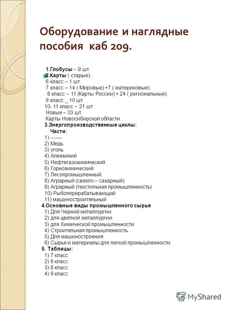 Оборудование и наглядные пособия каб 209. 1.Глобусы – 9 шт. 2.Карты ( старые). 6 класс – 1 шт. 7 класс – 14 ( Мировые) +7 ( материковые). 8 класс – 11 (Карты России) + 24 ( региональные). 9 класс _ 10 шт. 10- 11 класс – 21 шт. Новые – 33 шт. Карты Но