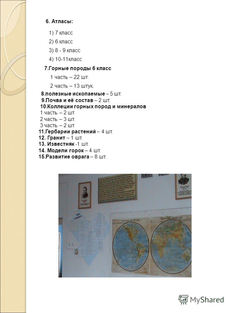6. Атласы: 1) 7 класс 2) 6 класс 3) 8 - 9 класс 4) 10-11класс 7.Горные породы 6 класс 1 часть – 22 шт. 2 часть – 13 штук. 8.полезные ископаемые – 5 шт. 9.Почва и её состав – 2 шт. 10.Коллеции горных пород и минералов 1 часть – 2 шт. 2 часть – 3 шт. 3