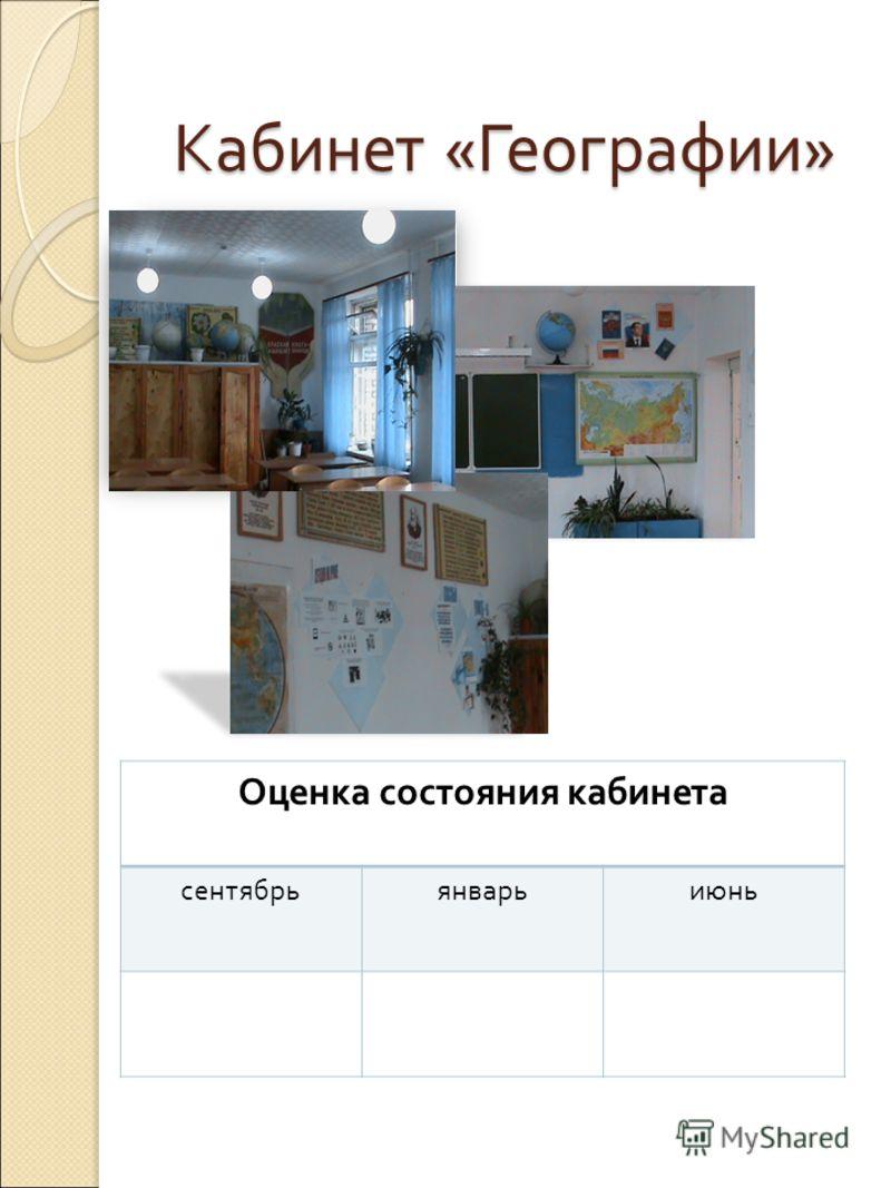 Кабинет «Географии» Оценка состояния кабинета сентябрьянварьиюнь