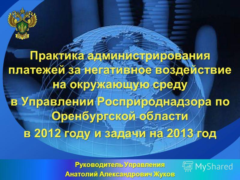 LOGO Практика администрирования платежей за негативное воздействие на окружающую среду в Управлении Росприроднадзора по Оренбургской области в 2012 году и задачи на 2013 год Руководитель Управления Анатолий Александрович Жуков