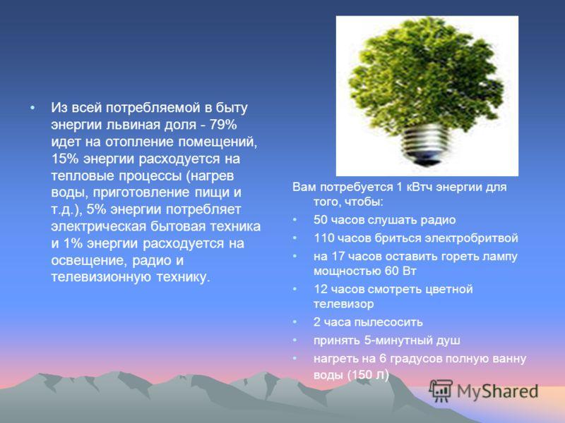 Из всей потребляемой в быту энергии львиная доля - 79% идет на отопление помещений, 15% энергии расходуется на тепловые процессы (нагрев воды, приготовление пищи и т.д.), 5% энергии потребляет электрическая бытовая техника и 1% энергии расходуется на