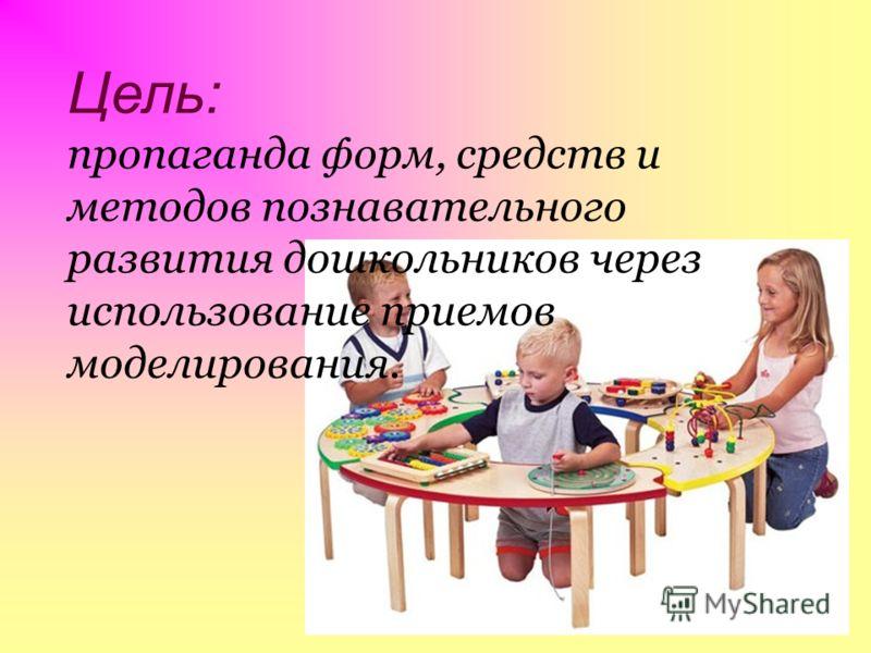 Цель: пропаганда форм, средств и методов познавательного развития дошкольников через использование приемов моделирования.
