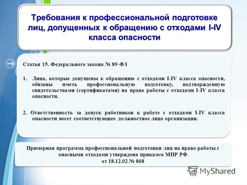 Powerpoint Templates Page 12 Статья 15. Федерального закона 89-ФЗ 1.Лица, которые допущены к обращению с отходами I-IV класса опасности, обязаны иметь профессиональную подготовку, подтвержденную свидетельствами (сертификатами) на право работы с отход